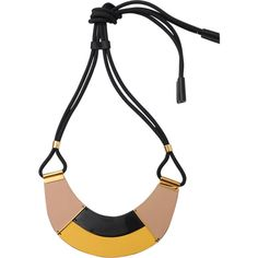 Marni Leather Necklace ($345) ❤ liked on Polyvore featuring jewelry, necklaces, leather jewelry, adjustable leather necklace, marni, marni necklace and yellow jewelry