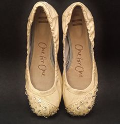 "Post ceremony/reception ""my heels hurt"" TOMS Wedding Ballet Flats in Ivory with by NakitaJaneDesigns, $135.00"