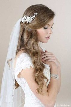 4. Half-Up, Half-Down bridal Hairstyles with veil