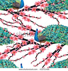 Seamless pattern with peacock bird and pink flowers vector background. Perfect for wallpapers, pattern fills, web page backgrounds, surface textures, textile