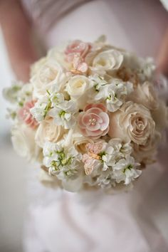Soft pastel pink, cream and green wedding bouquet