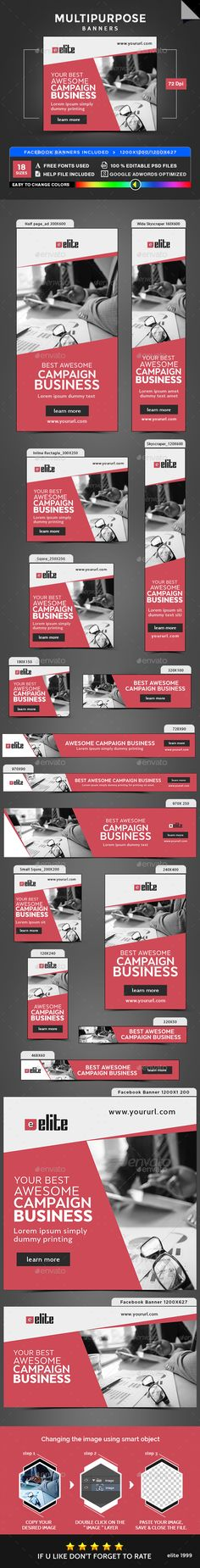 Multipurpose Banners by doto Promote your Products and services with this great looking Banner Set. Real Estate Banner, Facebook Ad Size, Google Banner, Banner Drawing, Summer Banner, Facebook Banner, Web Banners, Marketing Techniques, Banner Template