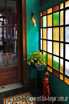 Love all the greens! Mosaic Glass, Glass Art, Stained Glass Windows, Home Decor Furniture, Windows And Doors, Boho Decor, House Colors, My Dream Home, Interior And Exterior