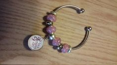 """European bead bracelet with pink beads and snap charm..""""i'my a country girl""""..camo browning buck by CamoAndAmmoBoutique on Etsy"""