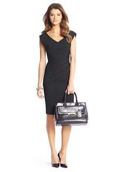 ee4fa8a3ff374 DVF Bevin Ceramic Ruched Sheath Dress In Black. In our new ceramic fabric.  With side ruching and a wide v-neck. Fit runs small.