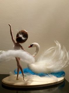 This is the character of the famous ballet of Tchaikovsky Swan Lake: an evil wizard transformed a beautiful girl Odette in the white swan. She is gentle, elegant, graceful. Her hair and crisp white dress decorated with white feathers.Needle felted do Wool Dolls, Felt Dolls, Famous Ballets, Felt Angel, Needle Felting Tutorials, Felt Fairy, White Swan, Swan Lake, Fairy Dolls