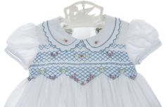 Sarah Louise blue and white smocked dress with embroidered flowers,blue and white smocked dress for baby girls,
