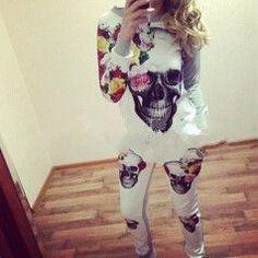Skull 3D Print Sport Suit Sweatshirt sportswear women Hoodie Free shipping