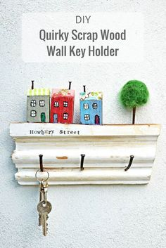 This upcycled wall key holder as well as being handy makes for a lovely homemade gift. Made from upcycled scrap wood and can be personalized with your street name.