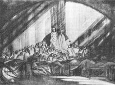 1908 design for Hamlet at Moscow Art Theatre by E. Gordon Craig