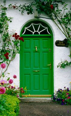Blooming Flowers Around Green Cottage Door, Stradbally, County Laois, Ireland