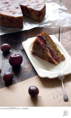 Plum and walnut cake. Unfortunately, the ingredient measurements are metric - will have to convert!