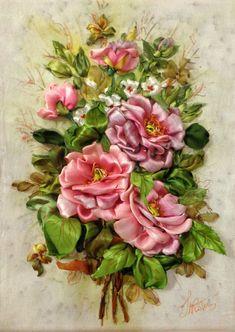 Ricamo per quadro Rose  Silk ribbon di SilkRibbonembroidery