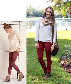 I love this inspiration photo - the mock turtleneck sweater, the patches on the burgundy jeans, her ability to pull off bare ankles, and the cute boots. Ankle boots have always been my favorite for their versatility and ease (no need to cram your pant leg Preppy Outfits, Casual Fall Outfits, Winter Outfits, Ankle Booties Outfit, Ankle Boots, Js Everyday Fashion, Tumblr Boy, Burgundy Pants, Plus Size Fall Outfit