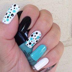 Beautiful Photo Nail Art: 20 Nail designs for long nails Trendy Nail Art, Cute Nail Art, Easy Nail Art, Cute Nails, Easy Art, Nail Design Spring, Nail Art Design Gallery, Polka Dot Nails, Polka Dots