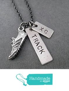 RUN TRACK and XC Track and Cross Country Runner Necklace - Pewter Running Shoe…
