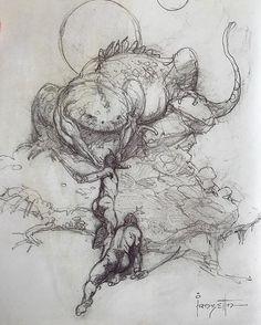 "#FrankFrazetta Rough for ""A Fighting Man of Mars"" Plate 1 •1974• ••••••••••••••••••••••••••••••••••••••••••••• #Frazetta #FantasyArt #Pencil #Sketch #Illustration #Doodle #Drawing #Fantasy #Mars #Lizard"