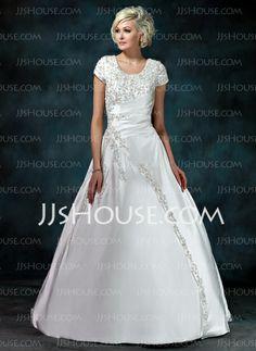 Wedding Dresses - $192.99 - Ball-Gown Scoop Neck Court Train Satin Wedding Dress With Ruffle Beadwork Sequins (002011976) http://jjshouse.com/Ball-Gown-Scoop-Neck-Court-Train-Satin-Wedding-Dress-With-Ruffle-Beadwork-Sequins-002011976-g11976