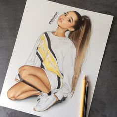 The best ariana Ariana Grande Fotos, Ariana Grande Anime, Ariana Grande Drawings, Ariana Grande Wallpaper, Ariana Grande Pictures, Best Friend Drawings, Cute Girl Drawing, Girly Drawings, Celebrity Drawings