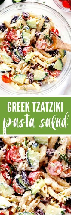 Greek Tzatziki Pasta Salad is a delicious pasta salad with fresh cucumbers, kalamata olives, and cherry tomatoes. It is tossed in a tangy tzatziki dressing and is perfect for your next potluck! (Chicken Pasta Salad)