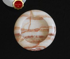 Rustic Marble Ashtray, Onyx Stone, Brown Banded Marble, Round Ashtray, Stone Ashtray, 5 inch Round, DM0010