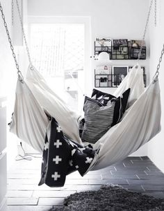 indoor hammock white hammock with black pillows