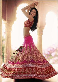 Rani pink embroidered lehenga by Kalki - soooo pretty! perfect for garba Indian Bridal Wear, Indian Wedding Outfits, Bridal Outfits, Indian Outfits, Bridal Dresses, Bride Indian, Indian Wear, Lehenga Designs, Bollywood Wedding