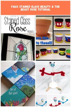 EASY Stained Glass Rose from Beauty and the Beast TUTORIAL! {Reality Daydream} disney Crafts Faux Stained Glass Beauty & the Beast Rose Tutorial
