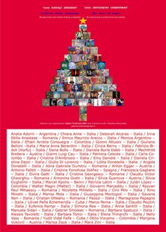 """Poster of the online international exhibition """"2020, A different CHRISTMAS – the tree of hope"""", Bari, ITALY, with the name and the works of the 68 selected artists from 8 countries. Plastic Art, International Artist, Bari, Contemporary Artists, Romania, Countries, Christmas, Poster, Argentina"""