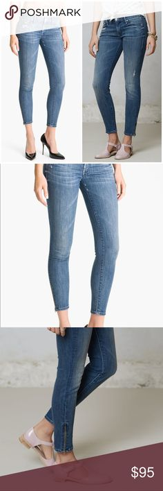 """MOTHER DENIM Looker Skinny Crop Zipper Distressed Super-skinny jeans with cropped hems strike a sleek silhouette in distressed, vintage-washed stretch denim with plenty of authentic rips, tears and fraying. Zip details at the ankles add another level of edgy accent. Zip fly with button closure. Five-pocket style. Approx. inseam: 28"""" with 10"""" leg opening. MOTHER Jeans Skinny"""