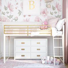 Junior Loft Beds, Low Loft Beds, Bedroom Bed, Girls Bedroom, Bedroom Ideas, 6 Year Old Girl Bedroom, Nursery Ideas, Bedroom Decor, White Loft Bed