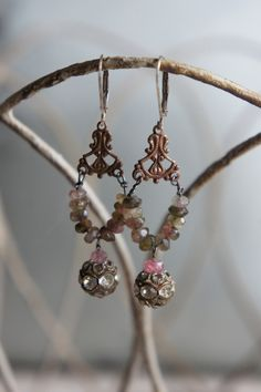 Vintage assemblage earrings tourmaline gemstones rhinestones dangle assemblage jewelry -  by French Feather Designs.. via Etsy.