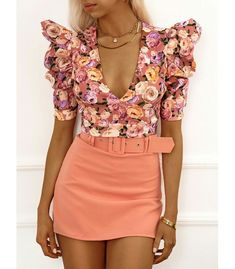 Short falda con cinturón, tejido elástico Salmon, Floral Tops, Mini Skirts, Shorts, Shopping, Dresses, Products, Fashion, Dress Shoes