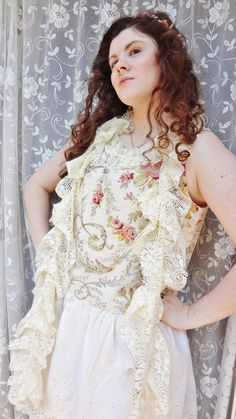 Romantic French Cream Tattered Lace Scarf by BerthaLouiseDesigns, $19.95