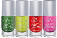limited edition Guerilla Gardening by essence cosmetics. Nail polish: 01 I'm the Moss, 02 Plant the Planet, 03 Mission Flower, 04 Floral Glam