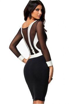 Amazon.com: WIIPU Sexy Black Long Sheer Sleeve Midi Cocktail Dress White Patchwork Bodycon(J2-2): Clothing