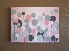 Nursery Wall Art Pink with Grey Textured Flowers Acrylic