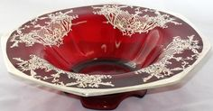 Antique Ruby Red Console Bowl with Sterling Silver Overlay Design