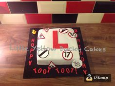 Learner Driver Cake. Garden Birthday Cake, 17 Birthday Cake, 17th Birthday, Boy Birthday, Birthday Ideas, Learners Licence, Novelty Cakes, Cakes For Boys, Toot
