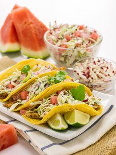 Watermelon Board   Skinny Fish Tacos with Watermelon and Radish Slaw