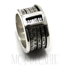 CRYPTEXT Spinner ring 12.5 mm wide; 4x 2mm flat spinner with alphabet, you can create any 4 letters words, Da Vinci code ring, code ring