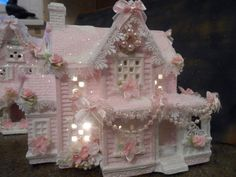 shabby pink victorian christmas village house chic hp ooak roses glitter