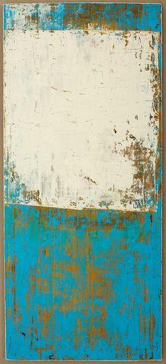 "Christian Hetzel: ""white blue painting"", 2013. (mixed media on timber board -- 113.5 cm x 50 cm x 2.1 cm)"