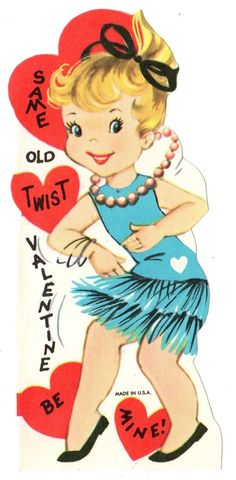 "Teen Girl Dancing The Twist Says ""Same Old Twist"" Vintage Unused Valentine Card 