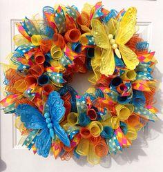 Spring/Summer mesh wreath.  on Etsy, $63.00