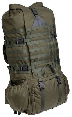 The is a large, top and bottom loading sustainment pack that carriers enough gear to keep you going for weeks. Although streamlined and straightforward the pack design offers almost endless possibilities for modular scaling and optimizing. Survival Equipment, Hunting Equipment, Camping Equipment, Camping Gear, Backpacking, Bushcraft Pack, Bushcraft Backpack, Diy Backpack, Rucksack Backpack