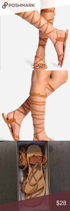 """NEVER WORN light brown peep toe gladiator sandals These are strapped brown gladiator sandals """"Jesus shoes"""". NEVER WORN!!!  I purchased them for my wedding but ended up going bare-footed instead. They look just like the woman wearing them in the picture. I wear a size 9 to a 9.5 and they fit accordingly.  -new in box, no lid  -true to size Shoes Sandals"""
