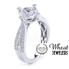 Twisting Round and Baguette Tapered Diamond Accent Engagement Ring #engagementring