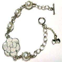 Pearl Bracelet Flower Bracelet Bridesmaid Bracelet by cdjali, $16.00