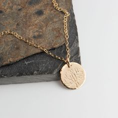 Tree Charm,Lariat Necklace,Gold Necklace,Tree Charm,Handmade Necklace,Hand Stamp,Minimalist Jewelry,Gold Charm,Gift For her by FAJMinimalist on Etsy